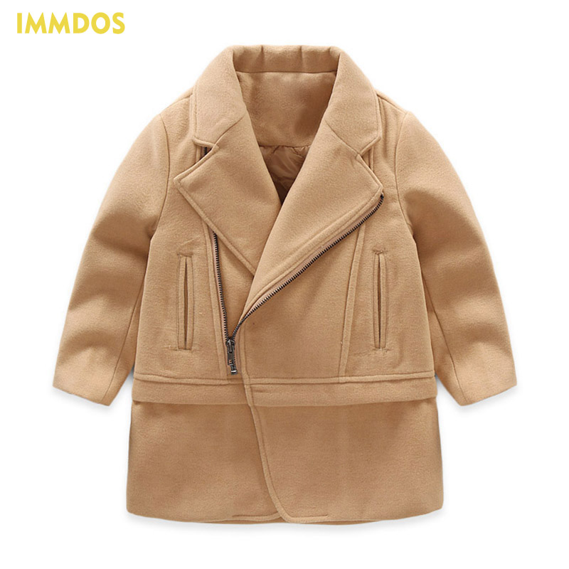 IMMDOS Children Winter Wool Coat For Boys Casual Solid Jacket For Boy Kids Long Sleeve Fashion Warm Clothing New Year Clothes 2017 children wool fur coat winter warm natural 100% wool long stlye solid suit collar clothing for boys girls full jacket t021