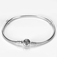 Real 925 Sterling Silver Bracelets with Shining Star Pave Clear CZ Bangle fit Pandora Original Charm Bead for Women Jewelry