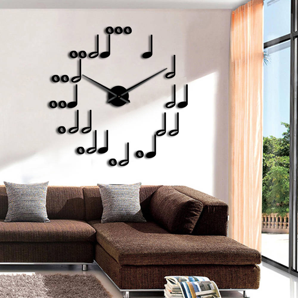 Music Notes DIY Wall Clock Watches Modern Design Musical Theme Wall Art Decor For Living Room Unique Gift For Music Lover