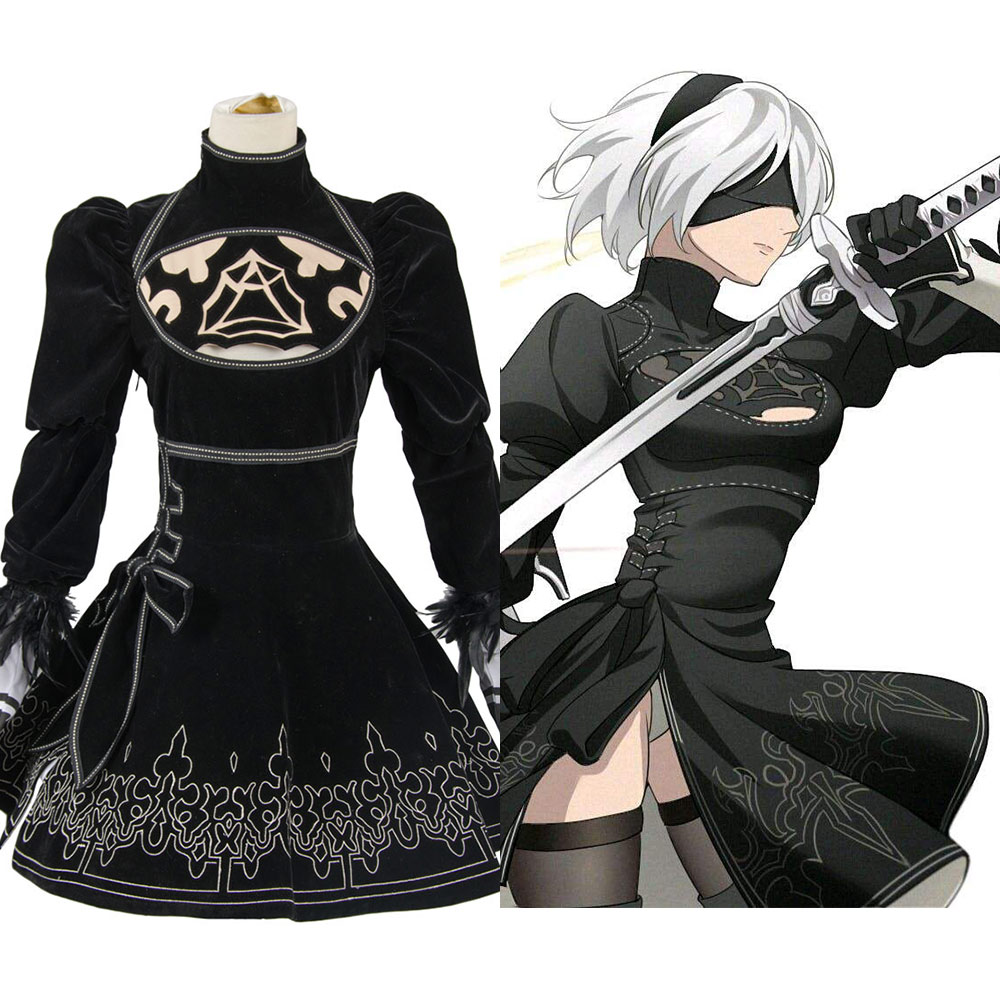 2B Cosplay NieR Automatas Costume YoRHa No.2 Type B Black Dress Full Set Nier Automatas Cosplay 2B Costume Full Set In Stock
