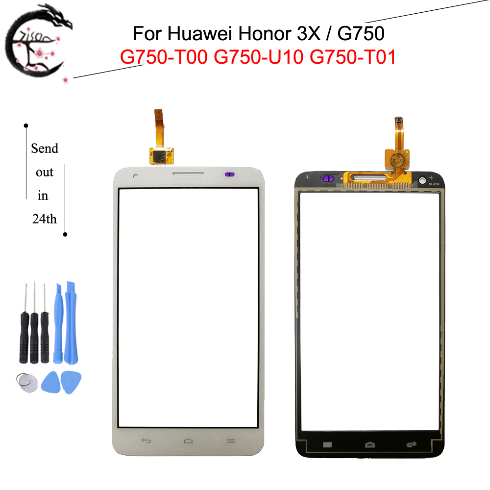 Touch Panel For <font><b>Huawei</b></font> Honor 3X <font><b>G750</b></font> <font><b>G750</b></font>-T00 <font><b>G750</b></font>-<font><b>U10</b></font> <font><b>G750</b></font>-T01 Touch Screen Glass With FPC Flex Cable Honor3X Sensor Digitizer image