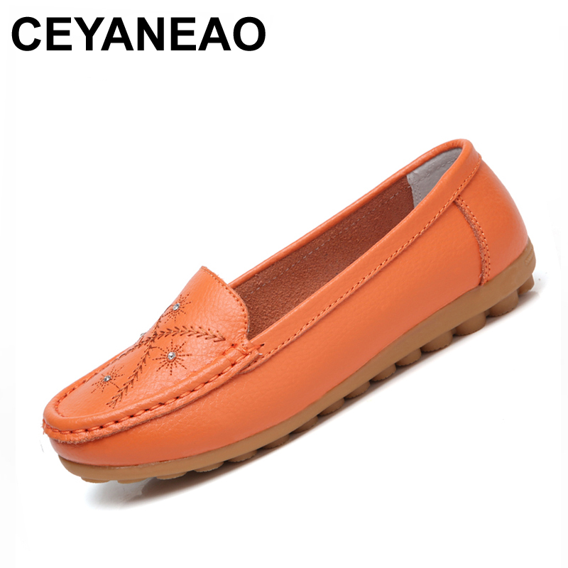 CEYANEAO 2018 Handmade genuine Leather Round Toe Women Flats Moccasins Loafers ballet flats women Comfortable soft Casual Shoes 2016 mother shoes genuine leather loafers woman solid color soft comfortable ballet flats flexible round toe ol lady work shoes