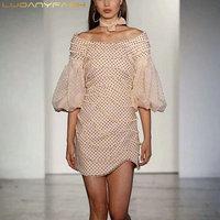 Dot Dress Lantern Sleeve Pink Mini Dresses For Women High Waist Sweet Vestidos 2018 New Fashion Clothing