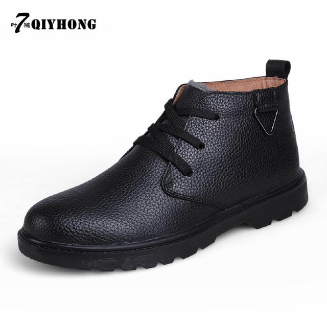 QIYHONG Marca 2016 Vendas Quentes de Inverno Dos Homens de Couro Genuíno Botas de Neve Manter Quentes Homens de Moda Anti-Skid Sapatos Dois cores