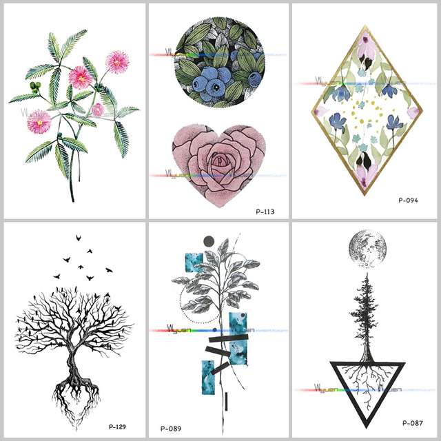 24495e6051140 Wyuen Tree Birds Fake Tattoo Flower Temporary Tattoo Stickers for Women Men  on Body Art Original Moon Waterproof Tatoos P-129