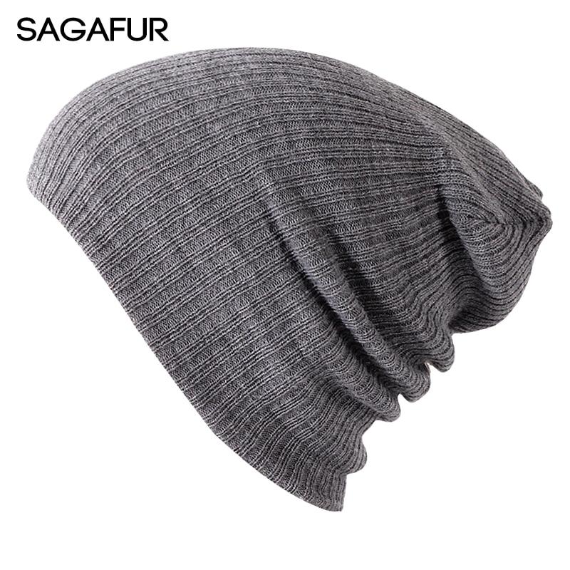 Soft Knitted Hat Female Men Cap Women's Cotton   Beanies   For Girl Winter 2018 New Plain Hats Female Solid Bonnet Autumn   Skullies