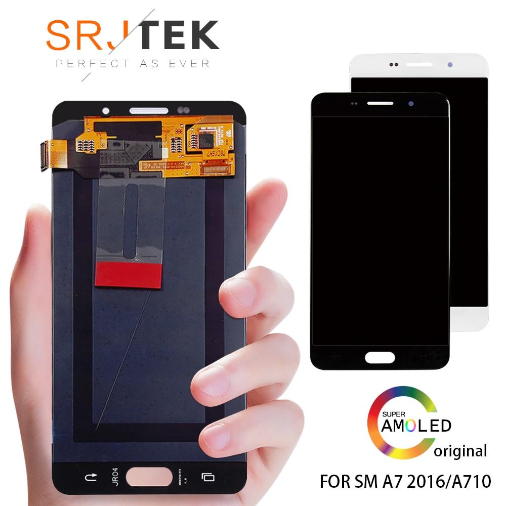 Capteur de remplacement LCD pour Samsung Galaxy A7 2016 A710 A710F A710M AMOLED téléphone LCD écran tactile numériseur assemblée
