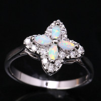 4 Petal Plum Blossom White Fire Opal Topaz Bridal Sets Wholesale 925 Sterling Silver Stamped Jewelry