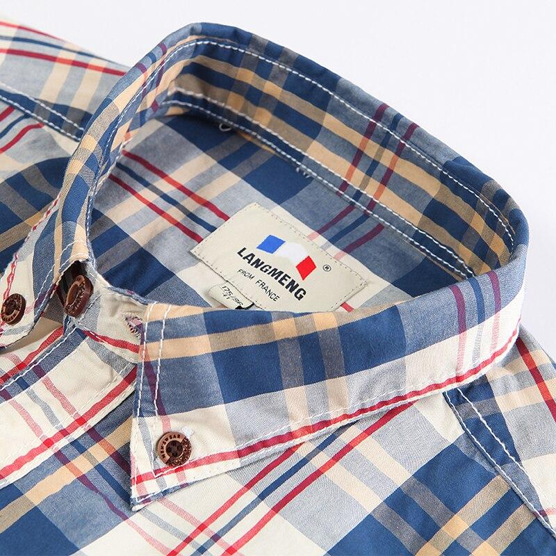 Langmeng neue 2017 herbst frühling herren plaid casual shirts - Herrenbekleidung - Foto 4