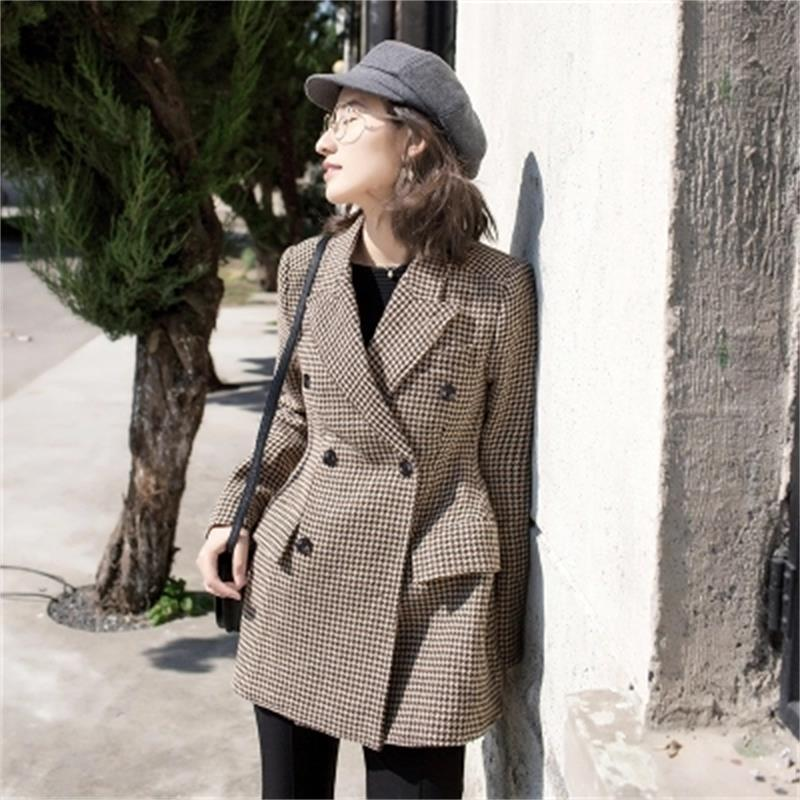Plaid Blazers Female Jacket IWoolen Small Suit Jacket Female Retro Loose Long Double Double-breasted Suit Female Blazers New