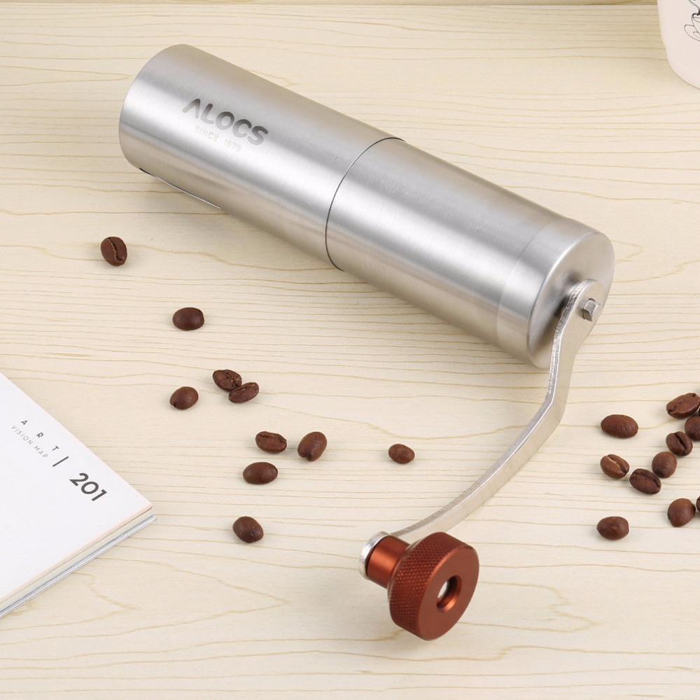Stainless Steel Hand Manual Grind Coffee Bean Burr Grinder Mill Tool for backpacking camping picnics road trips home daily use