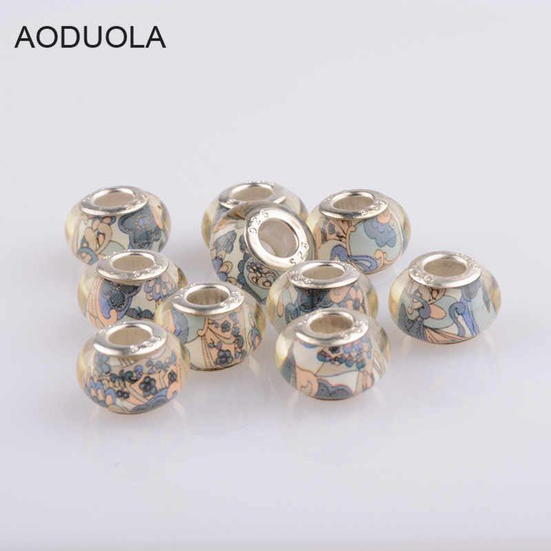 AODUOLA 10 pcs Colorful modello di Murano Perle di vetro Misura il Braccialetto Pendenti e Ciondoli Donne di modo Dei Monili SZ-09