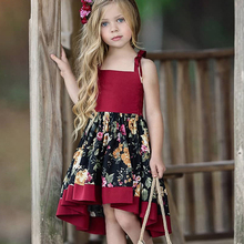 Baby Girls Dress Children Unique Irregular Dress Elegant Bow Strap Girls Retro Floral Print Party Dress Children Clothes Dress stylish floral big bow girls dress