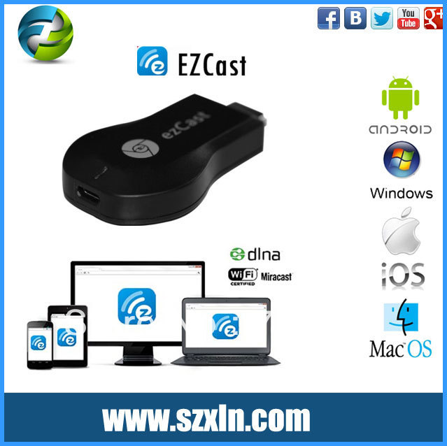 US $36 0 |hdmi dongle W2 support ezcast miracst dlna airplay imedia share  push music vedio audio and word excel ppt pages on big tv-in Set-top Boxes