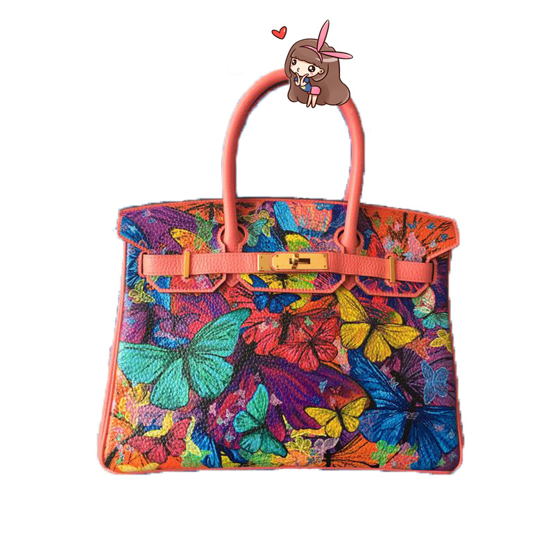2017 Top-handle bags Painting butterfly leather Hand Painted Cartoon Gold lock Women Pu Leather 35CM Hand baggage gift iarts aha072962 hand painted thick texture of knife painting trees oil painting red 60 x 40cm