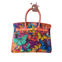 2017 Top handle bags Painting butterfly leather Hand Painted Cartoon Gold lock Women Pu Leather 35CM Hand baggage gift
