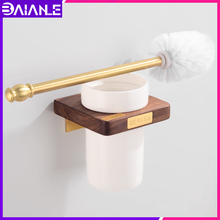 Toilet Brush Holder Set Ceramic Cup Brass Wood Toilet Brush Holder Bathroom Clean Cleaning Brush Wall Mounted Bathroom Hardware