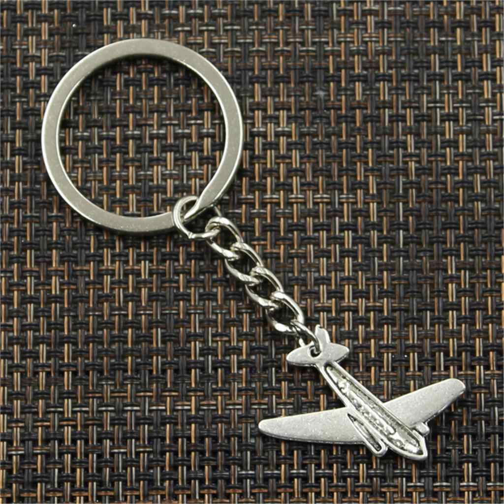 New fashion men 30 milímetros keychain DIY suporte de metal cadeia de avião avião 25x31mm Presente pingente de prata do vintage