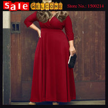 2016 Plus L XL XXL XXXL Sexy Deep V Neck Dress Three Quarter Sleeve Long Dress Party Dresses Vestidos Solid Red Black for Women