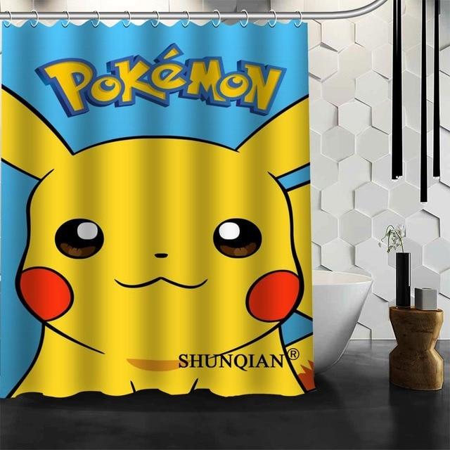 Best Nice Custom Pokemon Pikachu Shower Curtain Bath Waterproof Fabric Bathroom MORE SIZE A6