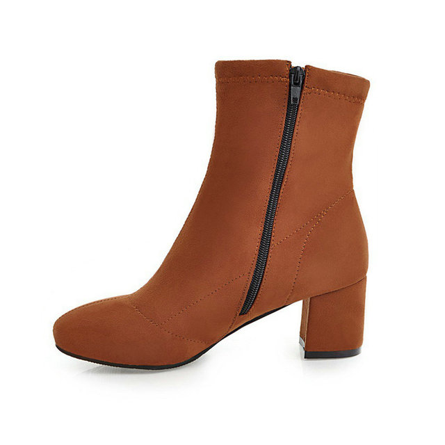 VINLLE 2018 Women Autumn Shoes Ankle Boots Square Med Heel Round Toe Sweet Style Flock Brown Ladies Motorcycle Shoes Size 34-43