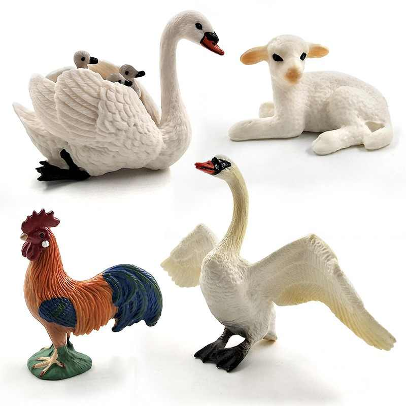 Little Lamb Swan Cock Hen Animal model Rooster Chicken sheep figurine home decor miniature fairy garden decoration accessories