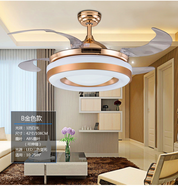 110~240V with remote control fan chandelier vintage dining room living room-bedroom electric LED fan chandelier