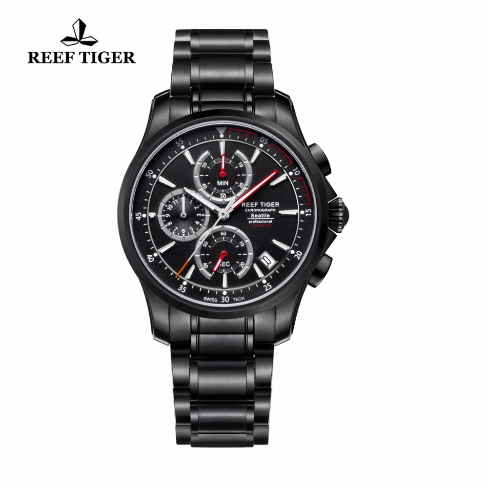 Reef Tiger/RT Watches Casual Sport Watches For Mens Super Luminous Quartz Watch Chronograph Watches with Date RGA1663 2017 reef tiger rt mens designer chronograph watch with date calfskin nylon strap luminous sport watch rga3033