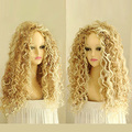 Women's Fashion Long Mix Blonde Wavy Wig Sexy Curly Natural Hair Cosplay Wigs