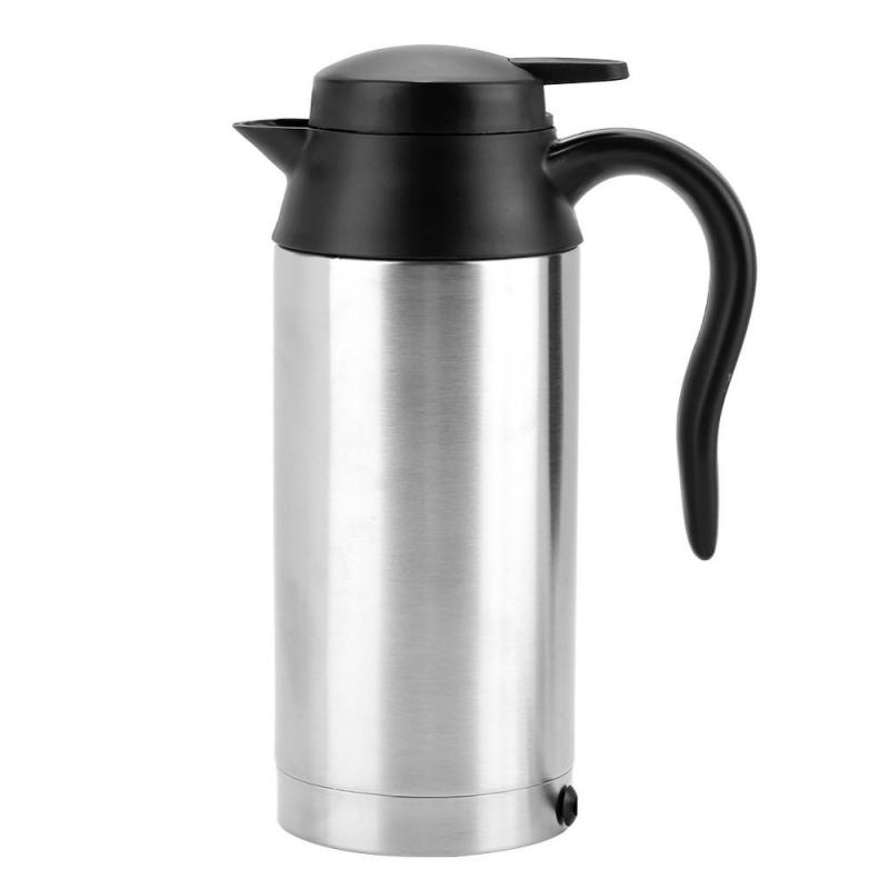 Portable 750ml 24V Stainless Steel Electric Heating Cup Kettle Water Heater Bottle for Tea Coffee Drinking Travel Car Truck