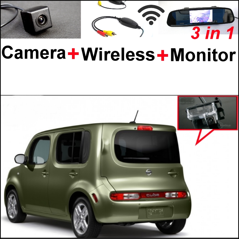3 in1 Special Camera + Wireless Receiver + Mirror Monitor Easy DIY Backup Parking System For NISSAN Cube Z12 2008~2014 wireless pager system 433 92mhz wireless restaurant table buzzer with monitor and watch receiver 3 display 42 call button