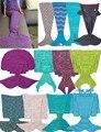 18 Size Hot Sell Mermaid Tail Blanket Handmade Crochet Mermaid Blanket Kids Adult Throw Bed Wrap Super Soft Sleeping Bed
