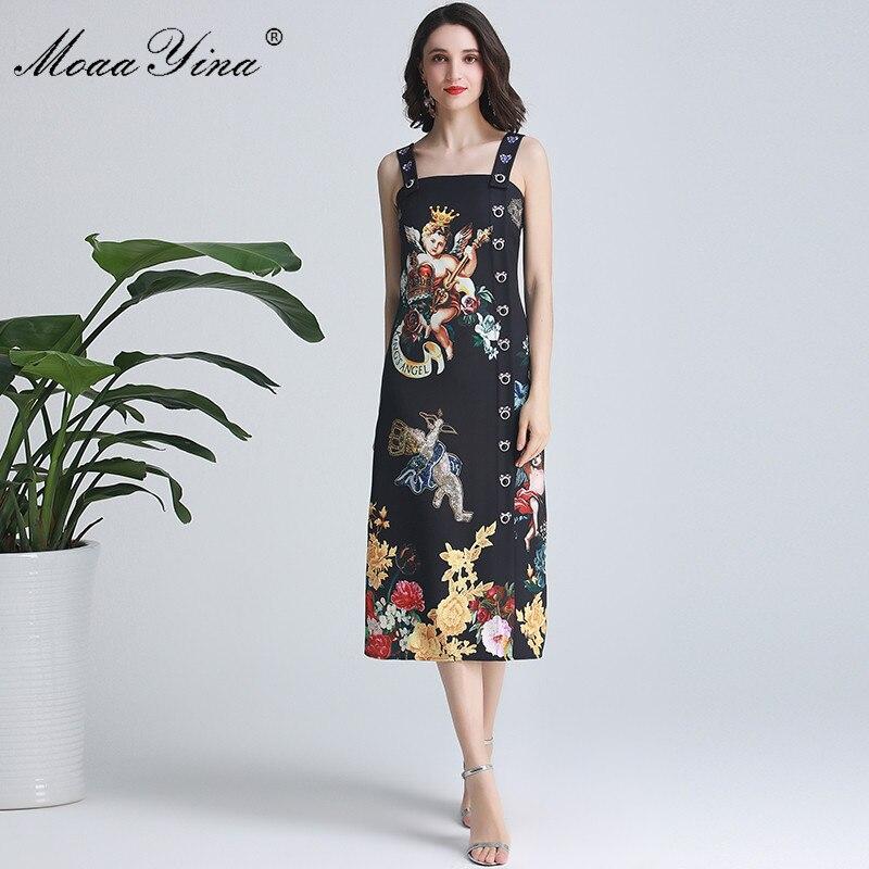 MoaaYina แฟชั่นรันเวย์ฤดูใบไม้ผลิฤดูใบไม้ผลิผู้หญิงสปาเก็ตตี้สายคล้อง Angel ดอกไม้   พิมพ์สีดำเพชรปุ่มชุด-ใน ชุดเดรส จาก เสื้อผ้าสตรี บน   1