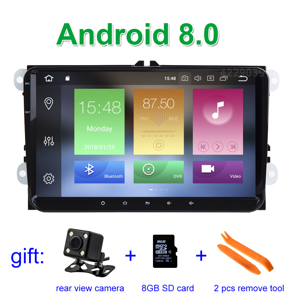 цена на 9 4 GB RAM Android 8.0 Car DVD Multimedia for VW Golf 5 6 Passat B5 B6 B7 CC Jetta Touran Tiguan with BT Wifi Radio GPS