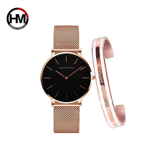 Creative Design Waterproof Rose Gold watch and bangle 4