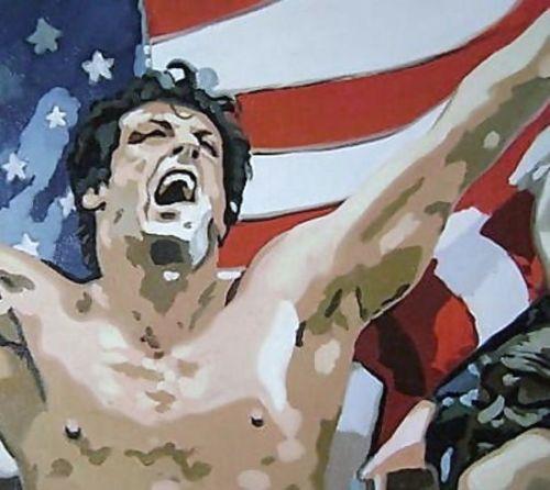 100% peint à la main Rocky Balboa USA 36x24 Pop Art peinture à l'huile, pas une impression ou une affiche