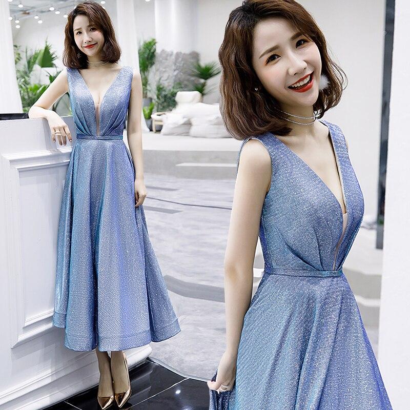 Sparkle Modern Sequined   Evening     Dresses   Women'S Sexy Long Deep V-Neck Sleeveless Shiny Party   Dresses   vestido de noche