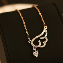 High Quality Charming Exquisite Popular Necklace Angel Wing With Full Crystal Pendant Necklace Chain Cz Necklace Retention Short