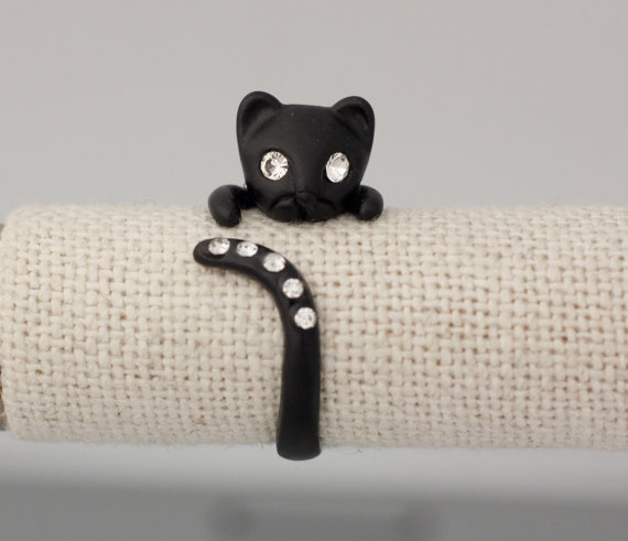 Adjustable Kitty Cat Animal Rings Cat Ring Womens Girls Retro Cat Ring with Cubic Setting Black Feminine Women Men Jewelry