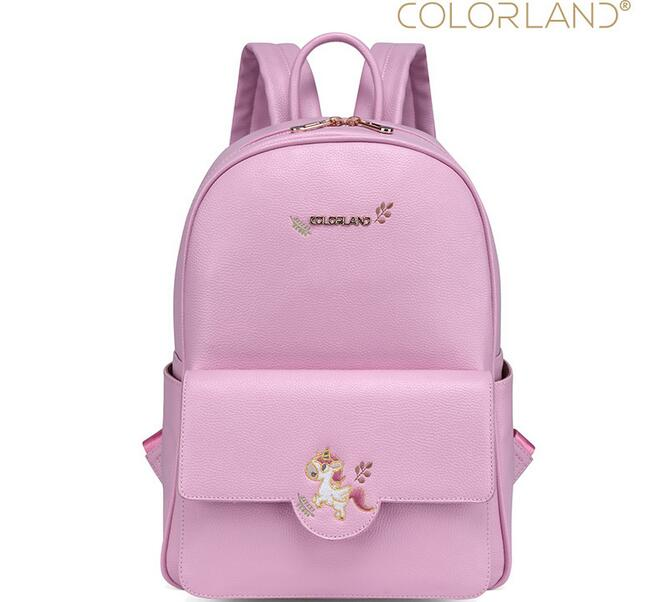 COLORLAND Diaper Bag Backpack PU Leather Baby Bag Organizer Large Nappy  Bags Mother Maternity Bags Mom Backpack Baby Backpack sunveno pu leather baby bag organizer tote diaper bags mom backpack mother maternity bags diaper backpack large nappy bag