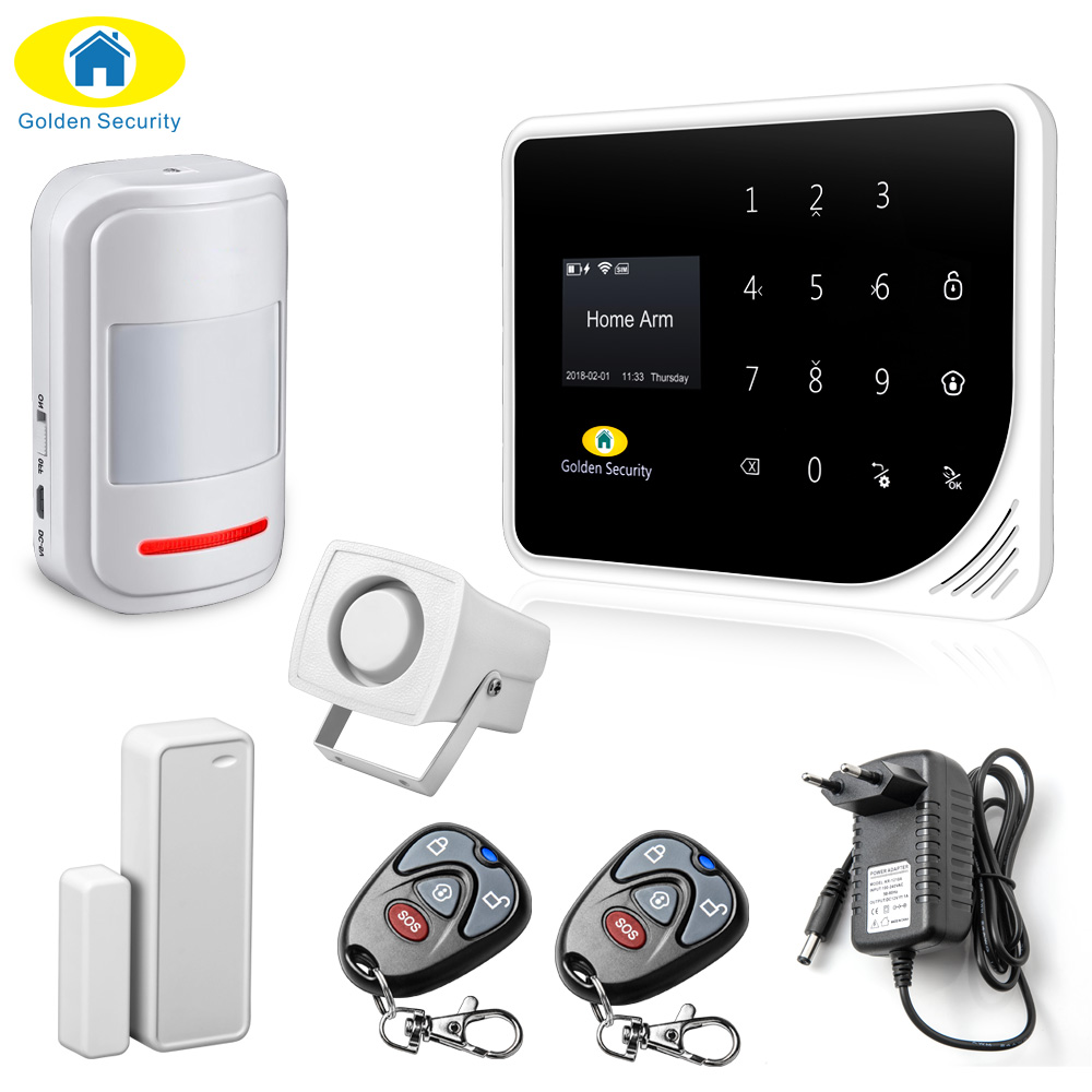 Golden Security Russian Spanish English S5 WIFI GSM 3G Alarm System Security Home GSM Alarm System APP Control Alarm DIY Kit newest 3g home security alarm system