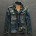 Джинсы куртки мужские пальто Ретро Джинсовая куртка мужская одежда Карман дизайн Нагрудные воротник Slim fit мужские куртки и пальто 2016