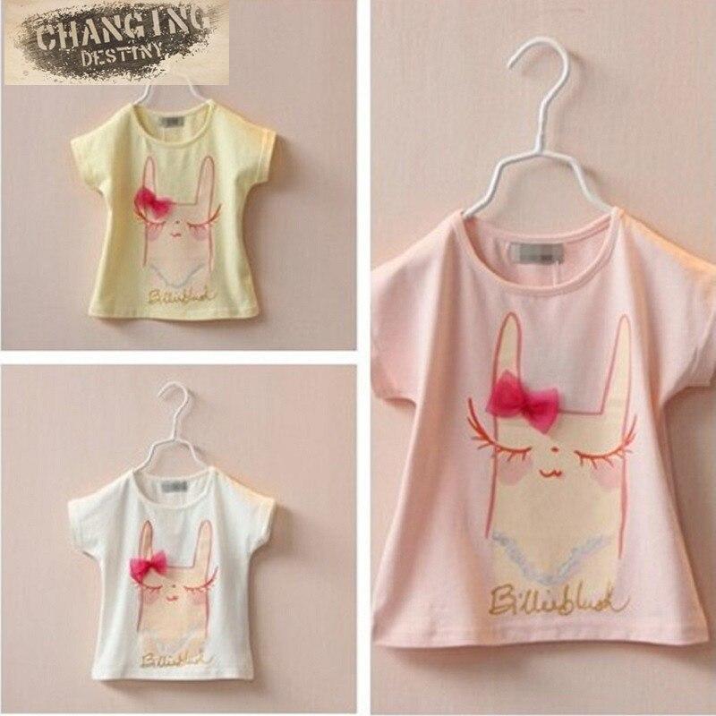 2-7 Years Old Children's T-shirt Bowknot Eyelash Rabbit Printing Girl's T-shirt Summer Pure Cotton Baby's Short Sleeve