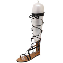 Free shipping new fashion sexy hollow gladiator cross tied women casual flat sandals knee summer shoes women sandals black brown