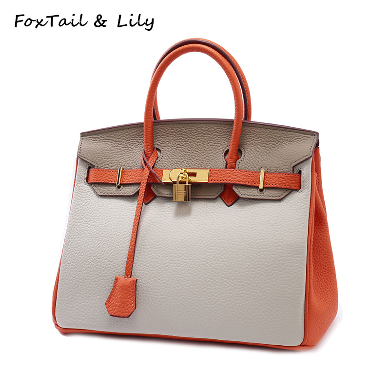 ФОТО FoxTail & Lily Women Bag Genuine Leather Patchwork Platinum Handbags Ladies Crossbody Bags Soft Real Leather Tote Shoulder Bag