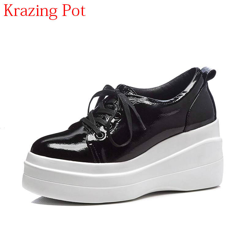 2018 Superstar Genuine Leather Casual Shoes Round Toe Lace Up Women Pumps High Heels Wedges Platform Increased Spring Shoes L96 xjrhxjr women s lace up high heels women pumps british style leather shoes thick heel round toe platform casual shoes for girls