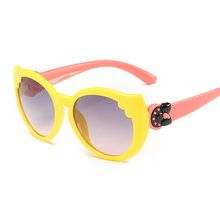 F.J4Z Cute Child Sunglasses Fashion Lovely Cat Eye Plastic Frame Gray Lens Children Baby Girl's Eye Glasses UV400 Protection