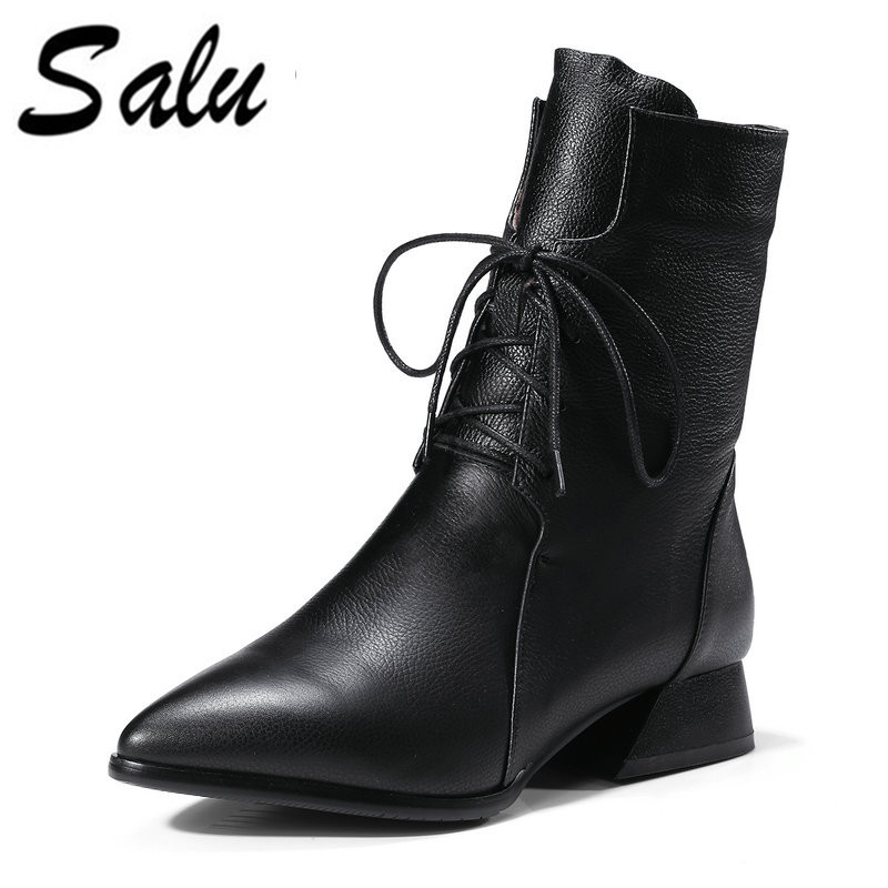 Salu 2018 new arrival genuine leather boots lace up black ankle boots for women fashion autumn high heels dress shoes цена и фото