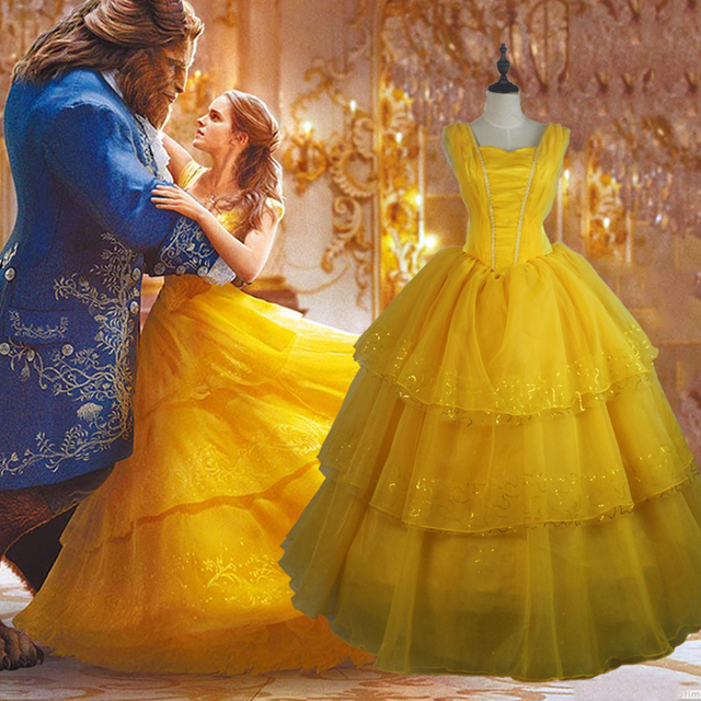 24003323a74 2018 Beauty And The Beast Cosplay Costume Princess Belle Dresses Adult  Halloween Costume Women Yellow Party Dance Dress