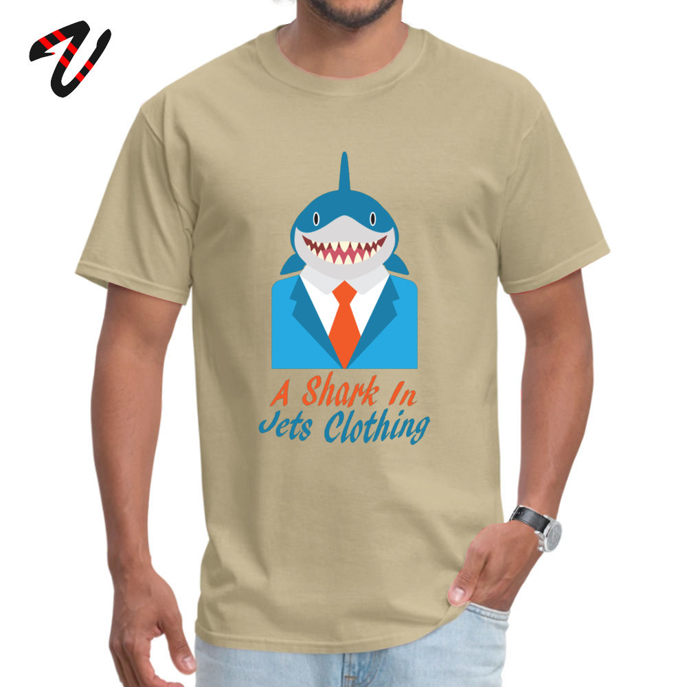 cosie Normal Short Sleeve Tops Shirt Summer O-Neck 100% Cotton Fabric Mens Top T-shirts Normal T Shirt Brand New A Shark In Jets Clothing 2375 beige